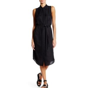 EQUIPMENT Black Tegan Washed Silk Chevron Dress